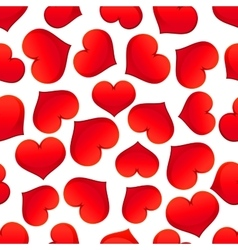 Red hearts pattern on white background vector image