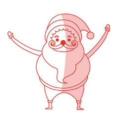 Red shading silhouette cartoon full body fat santa vector