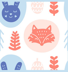 scandinavian forest animals seamless pattern vector image