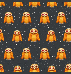 seamless pattern owl on dark night scene vector image