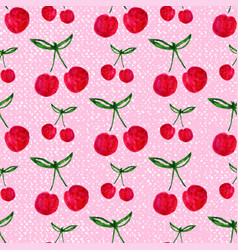 Seamless pattern with watercolor cherry endless vector