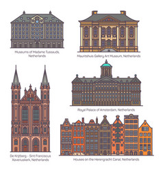 Set netherland or holland architecture in line vector