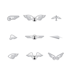 set of different airplanelogos vector image