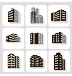 Set of dimensional buildings icons in grey vector