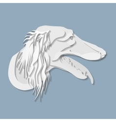 Side portrait of Saluki dog in paper cut style vector image
