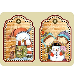 sketchy christmas tags vector image