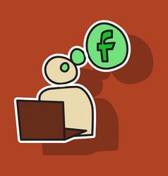 sticker unusual look facebook logotype social vector image