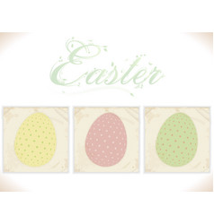 three vintage easter eggs on square panels vector image