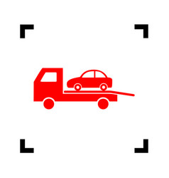tow car evacuation sign red icon inside vector image