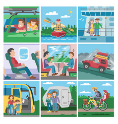 Travelling people traveler or tourist vector