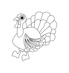 turkey thanksgiving day coloring page vector image