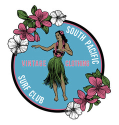 Vintage hawaiian hula badge vector