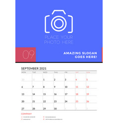 Wall calendar planner template for september 2021 vector