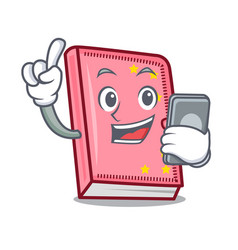 With phone diary character cartoon style vector