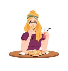 woman eat pizza drink juice flat cartoon vector image