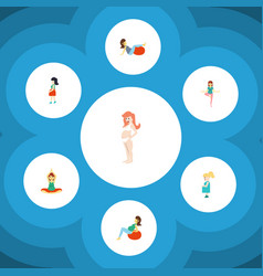flat icon pregnancy set of lady yoga sport and vector image