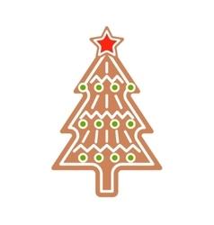 Gingerbread christmas tree cookie vector