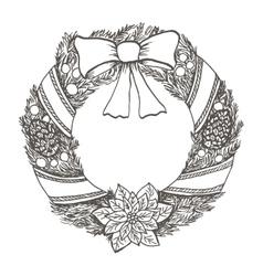 Hand drawn doodle christmas wreath Black pen vector image
