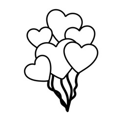 hand drawn silhouette with balloons of hearts vector image vector image