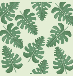 monstera leaves jungle seamless pattern vector image