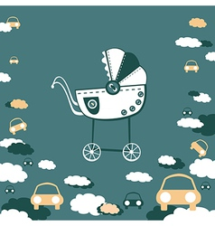 pram and clouds vector image vector image