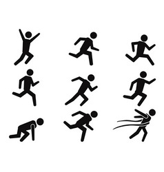 runner stick figure icons set vector image