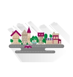 Small town urban landscape in flat design style vector image vector image
