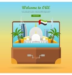 United Arab Emirates Travelling Banner Suitcase vector image