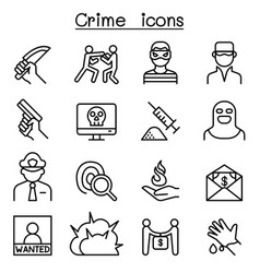 crime icon set in thin line style vector image
