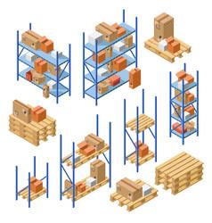 isometric warehouse shelvings cardboard box vector image