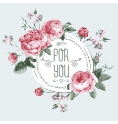 Vintage watercolor round frame with blooming vector
