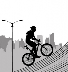 bike and city vector image vector image