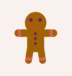 ginger bread man with face and raisin buttoms vector image