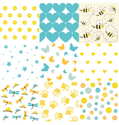 baby shower set of seamless backgrounds vector image vector image