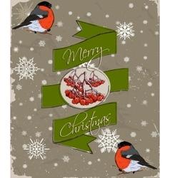 Christmas card with bullfinch vector image