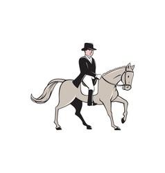 Equestrian rider dressage cartoon vector
