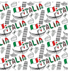 italy hand drawn seamless pattern with flag vector image vector image