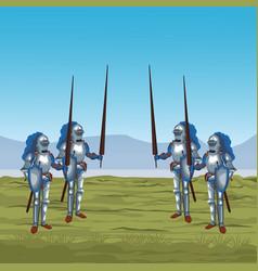 medieval warriors on war vector image