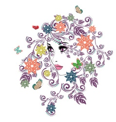 Summer Girl with Floral6 vector image