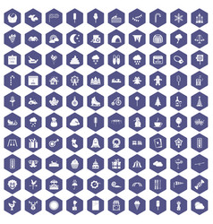 100 childrens parties icons hexagon purple vector image