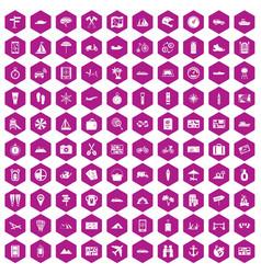 100 travel icons hexagon violet vector