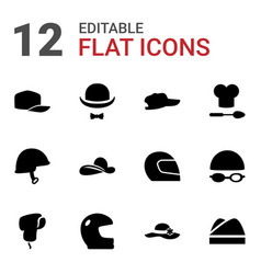 12 hat icons vector image