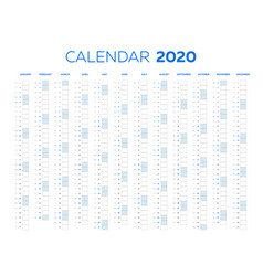 2020 calendar template with classical monthly vector