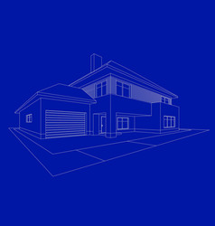 3d house building sketch home line icon on blue vector