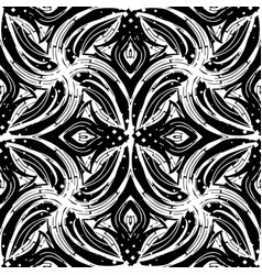 abstract black and white floral seamless pattern vector image