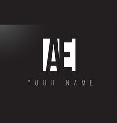 Ae letter logo with black and white negative vector