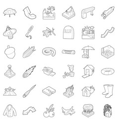 Atmospheric icons set outline style vector