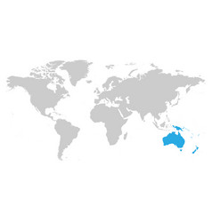 Australia continent blue marked in grey silhouette vector
