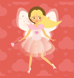 beautiful cupid girl with wings in pink flying vector image