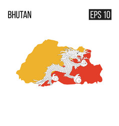 Bhutan map border with flag eps10 vector